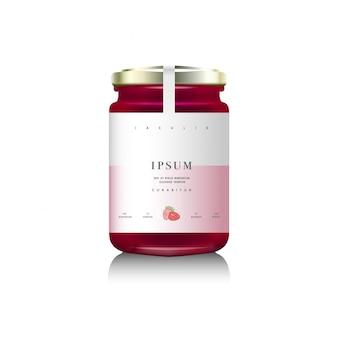 Realistische glazen flesverpakking voor fruitjam. frambozen- of aardbeienjam met design label, typografie, lijn aardbei pictogram.