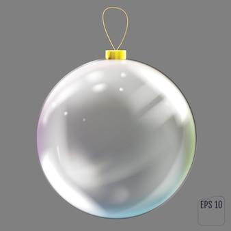 Realistische glazen kerstbal. transparant kerstboomspeelgoed met gekleurde reflecties