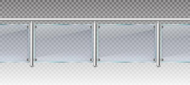 Realistische glazen omheining. glazen balustrade met metalen balustrades, balkon of terras plexiglas hekwerk 3d