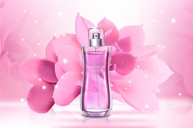 Realistische glazen parfum reclame-sjabloon voor spandoek