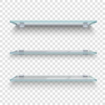 Realistische glazen planken set