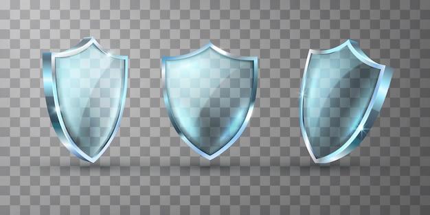 Realistische glazen schild vectorillustraties. leeg leeg transparant blauw acrylglaspaneel met bezinning en gloed. transparante beukelaar award trofee of beveiligingscertificaat sjabloon.