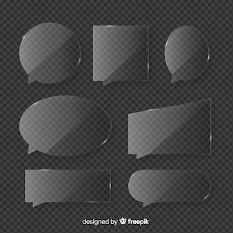 Realistische glazen tekstballoncollectie