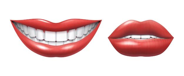 Realistische glimlach. vrouw lachende mond met witte tanden en lippen, mondgezondheid en make-up model