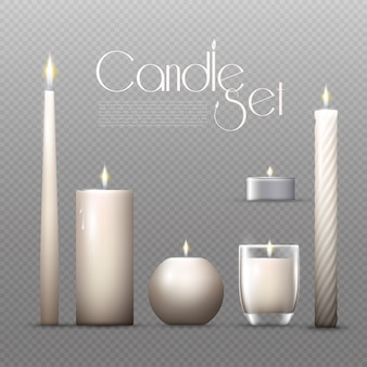 Realistische gloeiende kaarsen set