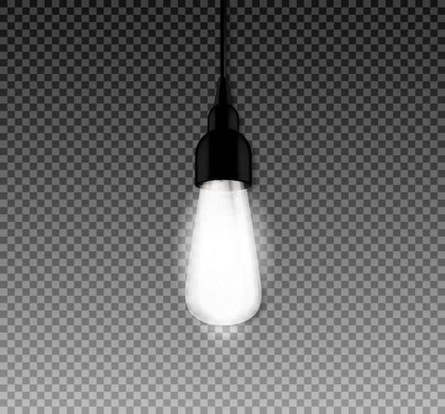 Realistische gloeiende lamp met retro-stijl vintage edison. ligt bollen. vector illustratie