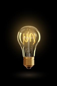 Realistische gloeiende lamp opknoping op de draad. gloeilamp geïsoleerd op transparante achtergrond. elektrische gloeilamp, symbool van creatieve ideeën. decoratieve retro design edison gloeilamp