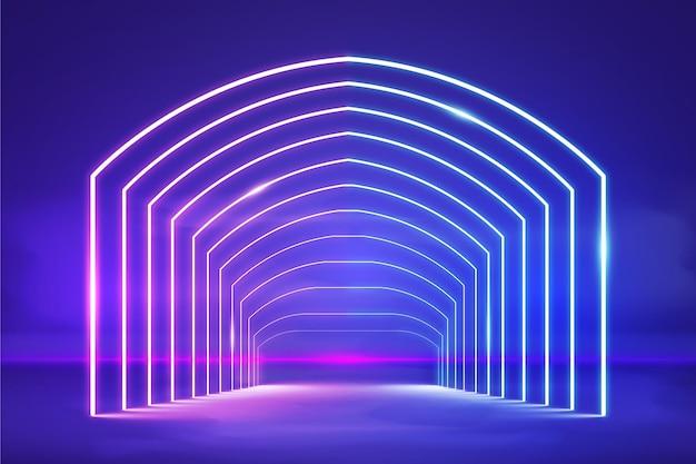 Realistische gloeiende neonlichtenachtergrond