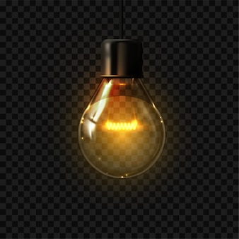 Realistische gloeilamp. elektrische retro lamp, interieurelementen. illustratie donkere gloeiende gloeilamp op zwarte transparante achtergrond