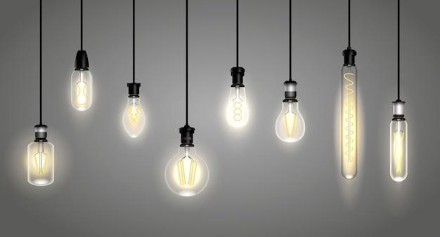 Realistische gloeilampen of hanglamp draadlicht of zacht gloeiende filament vintage lamp