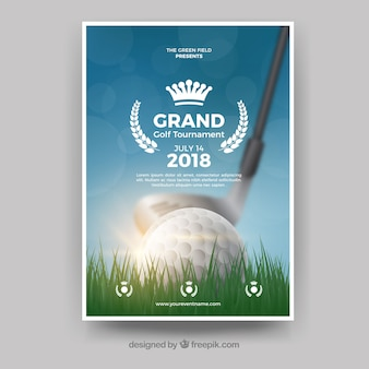 Realistische golf poster sjabloon