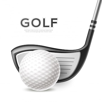 Realistische golftoernooi poster met golfclub en bal
