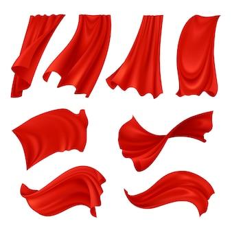 Realistische golvende rode doek