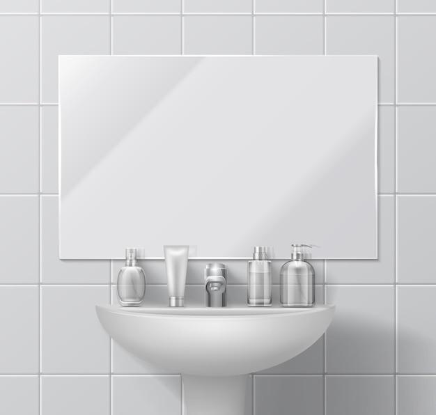 Realistische gootsteen en spiegel. badkamer of toilet interieur met set cosmetische containers en dispenser