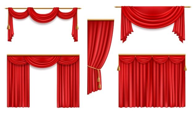 Realistische gordijnen, 3d rood gevouwen doek met gouden kwastjes en gordijnkast