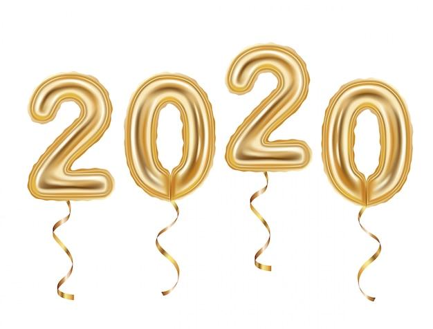 Realistische gouden ballonnen decoratie, 2020 gelukkig nieuwjaar