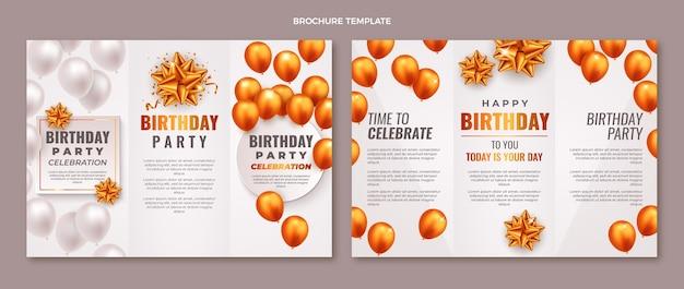 Realistische gouden ballonnen verjaardagsbrochure