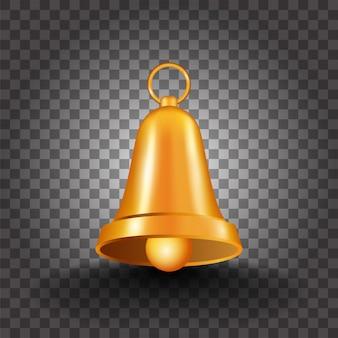 Realistische gouden bell op zwarte png-achtergrond.