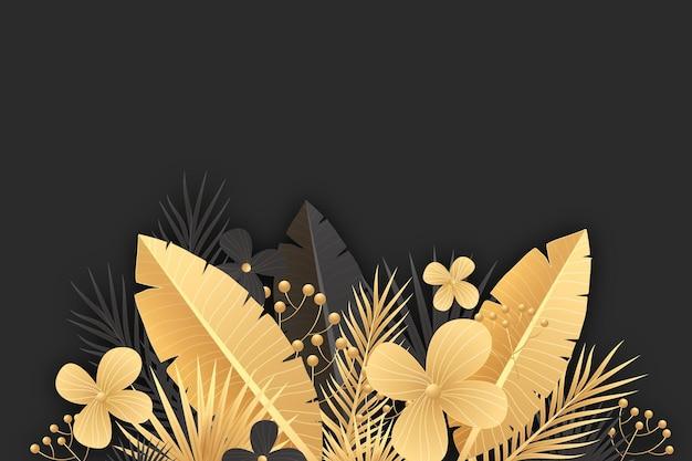 Realistische gouden bladeren achtergrond