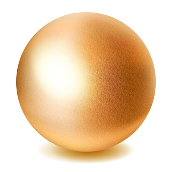 Realistische gouden bol met schaduw op witte achtergrond Premium Vector