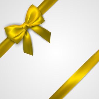 Realistische gouden boog met gele linten op wit wordt geïsoleerd