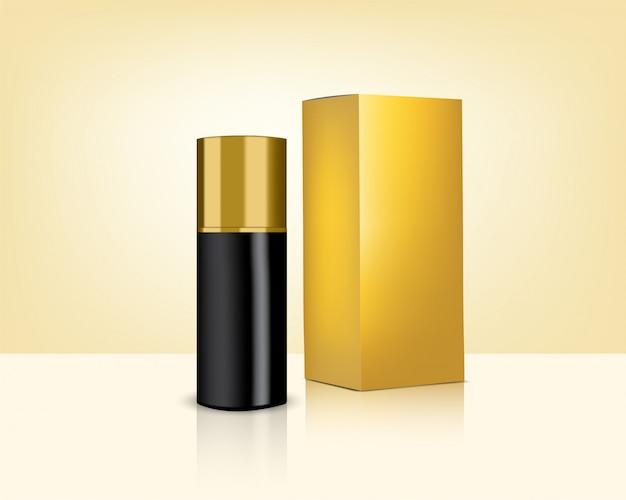 Realistische gouden cosmetica fles en doos voor huidverzorgingsproduct