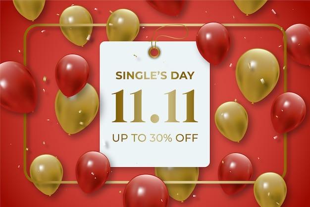 Realistische gouden en rode single's day-achtergrond