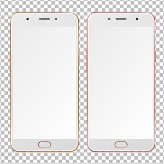 Realistische gouden en roze smartphones met lege schermen.
