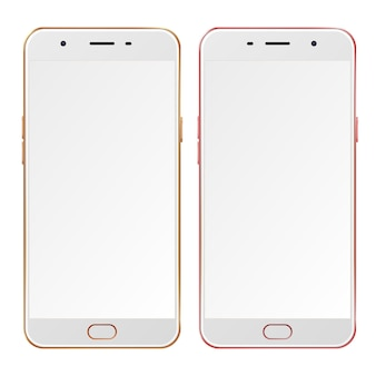 Realistische gouden en roze smartphones met lege schermen