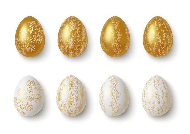 Realistische gouden en witte paaseieren met bloemversieringen.