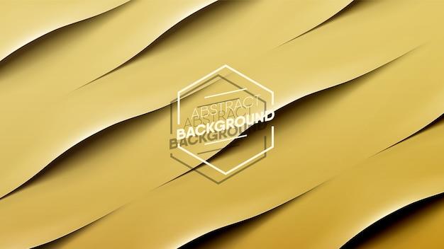 Realistische gouden golf strepen achtergrond. glad als zijde en papieren kunststijl.