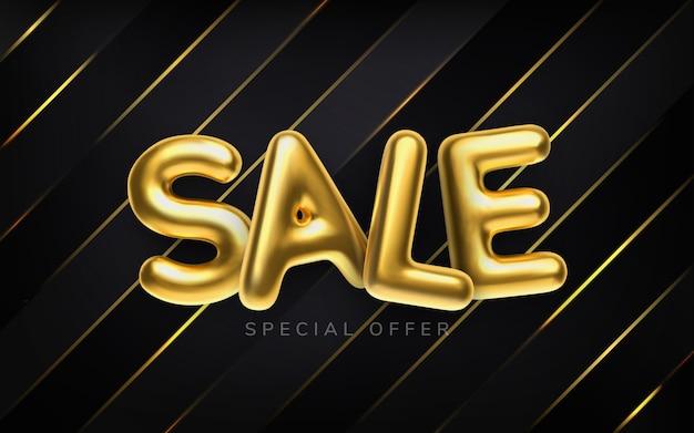 Realistische gouden inscriptie verkoop abstracte illustratie. abstracte gouden metaaltekst voor banner. vector horizontale zwarte achtergrond