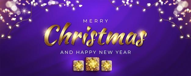 Realistische gouden kalligrafie kerst met geschenkdozen en gouden glitter decoratief licht