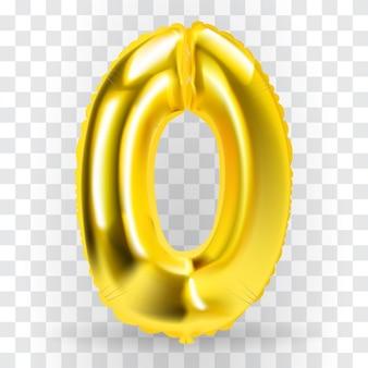 Realistische gouden kleur opblaasbare luchtballon figuur 0 op transparante achtergrond. vectorillustratie.