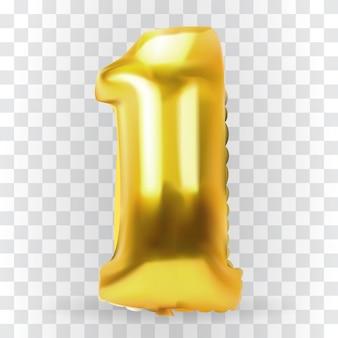 Realistische gouden kleur opblaasbare luchtballon figuur 1. vectorillustratie.