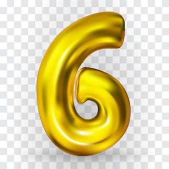 Realistische gouden kleur opblaasbare luchtballon figuur 6 op transparante achtergrond. vectorillustratie.