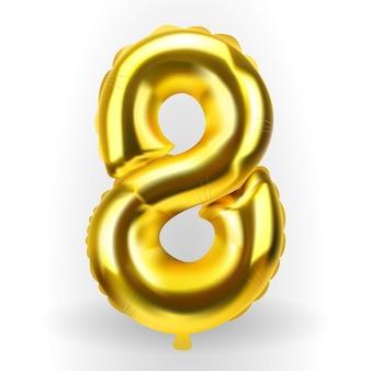 Realistische gouden kleur opblaasbare luchtballon figuur 8. vectorillustratie. eps10