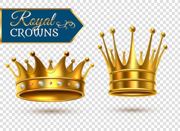 Realistische gouden kronen transparante set