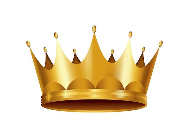Realistische gouden kroon. bekronende hoofdtooi voor koning of koningin. koninklijke nobele aristocraat monarchie symbool