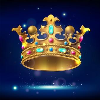 Realistische gouden kroon met edelstenen op een donkere lichtgevende achtergrond,