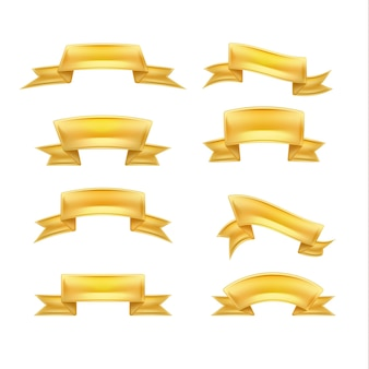 Realistische gouden linten instellen afbeelding