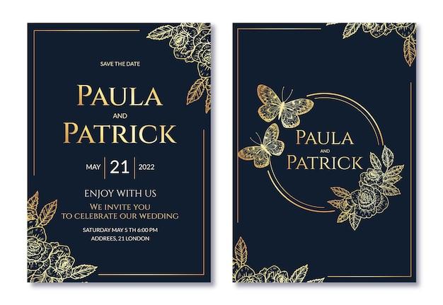 Realistische gouden luxe bruiloft uitnodigingssjabloon met foto