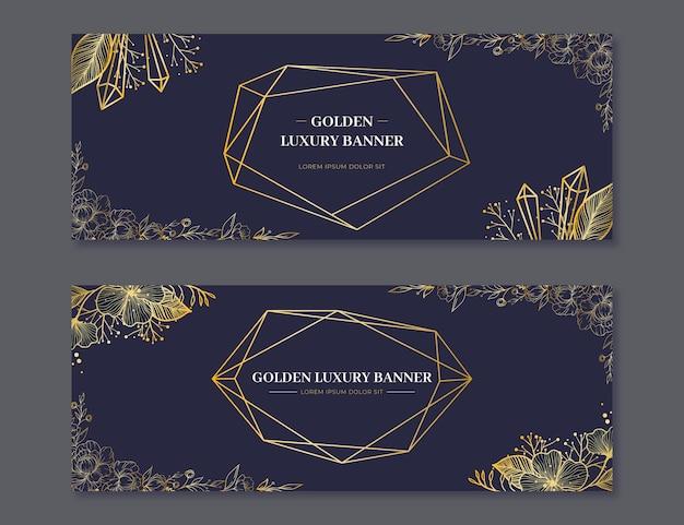 Realistische gouden luxe horizontale banners set