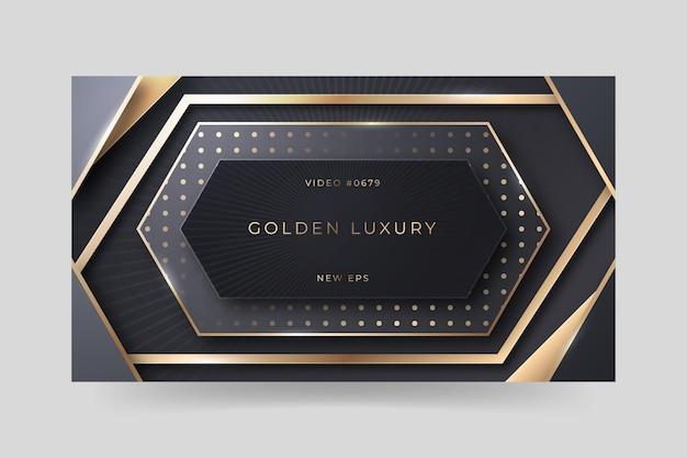 Realistische gouden luxe youtube-miniatuursjabloon Premium Vector