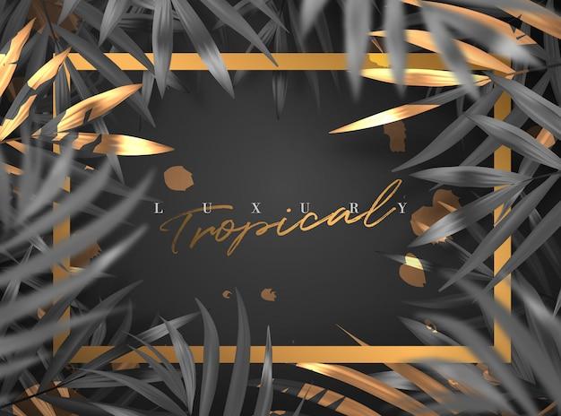 Realistische gouden luxe zomer tropische gebladerte frame achtergrond