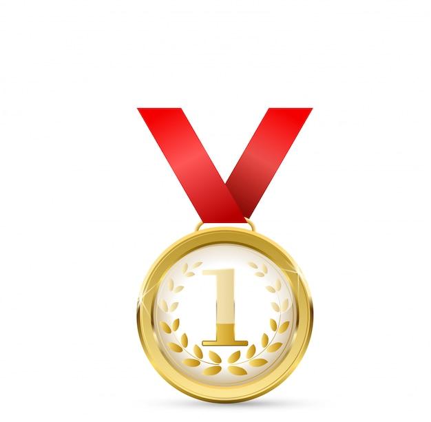 Realistische gouden medaille op rood lint. winnaar. illustratie. eerste plaats illustratie