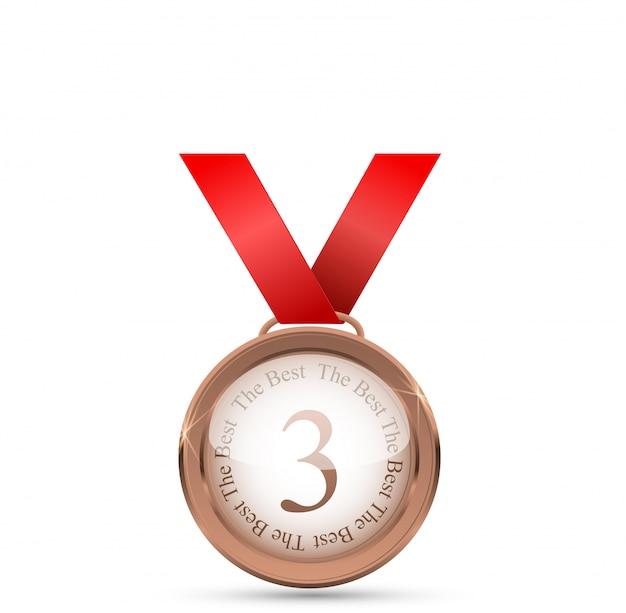 Realistische gouden medaille op rood lint. winnaar symbool. illustratie.