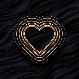 Realistische gouden metalen harten op zwarte vloeiende golven achtergrond. decoratie-elementen voor valentijnsdag of bruiloftsontwerp. symbool van de liefde.
