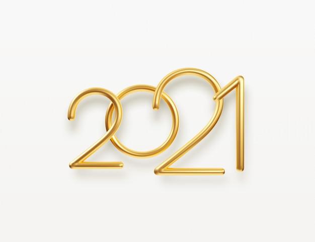 Realistische gouden metalen inscriptie 2021. Premium Vector