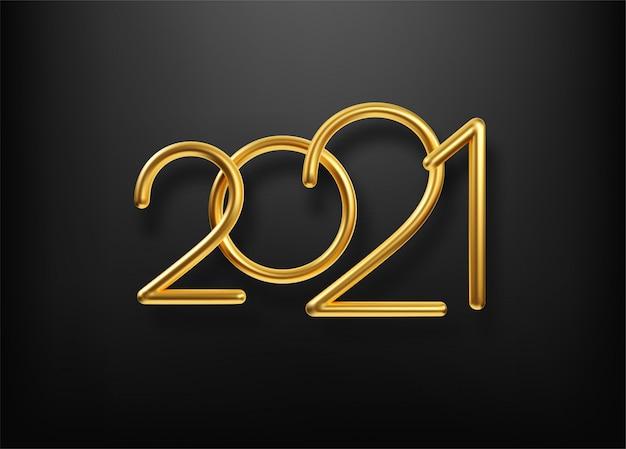 Realistische gouden metalen inscriptie 2021.